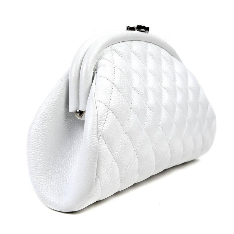 Chanel White Caviar Leather Timeless Clutch 2