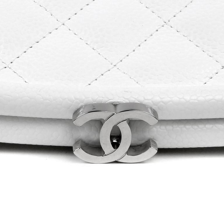 Chanel White Caviar Leather Timeless Clutch In New never worn Condition For Sale In Malibu, CA