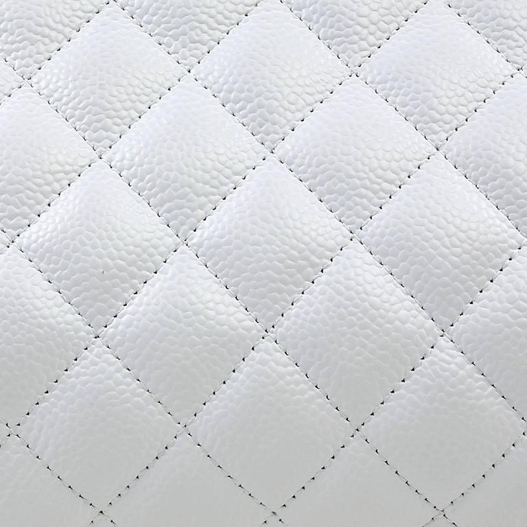 Chanel White Caviar Leather Timeless Clutch 5