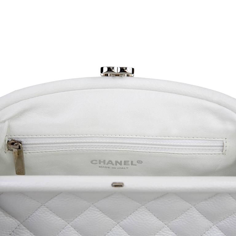 Chanel White Caviar Leather Timeless Clutch 7