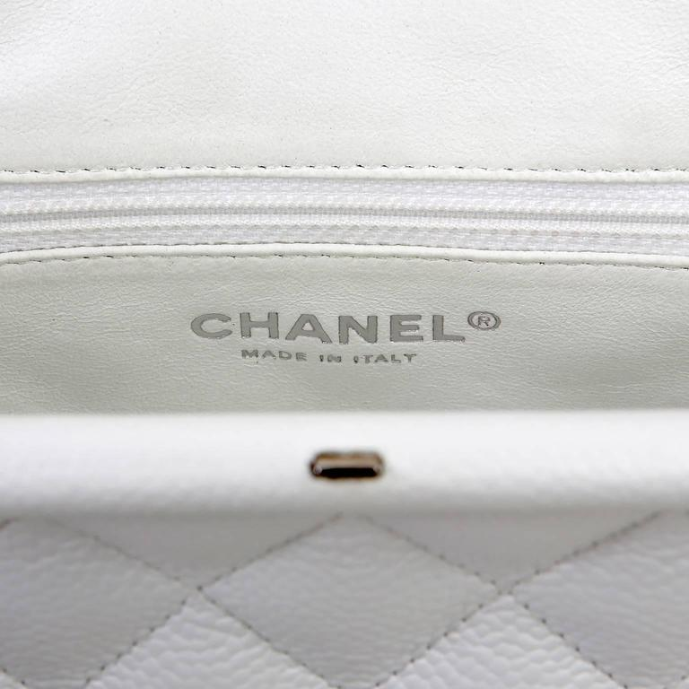 Chanel White Caviar Leather Timeless Clutch 8