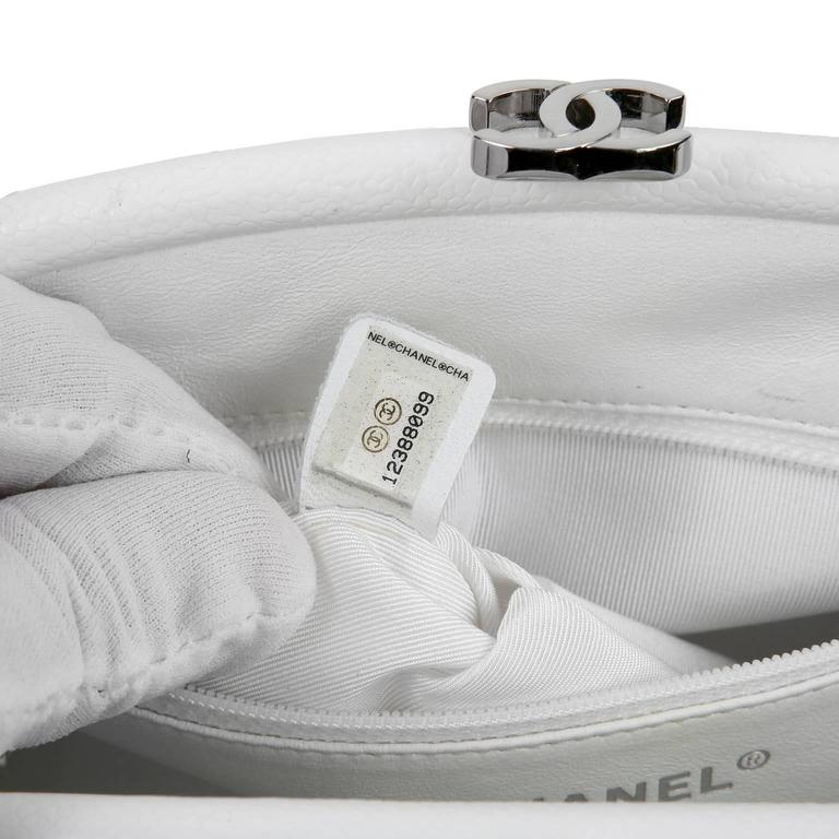 Chanel White Caviar Leather Timeless Clutch 9