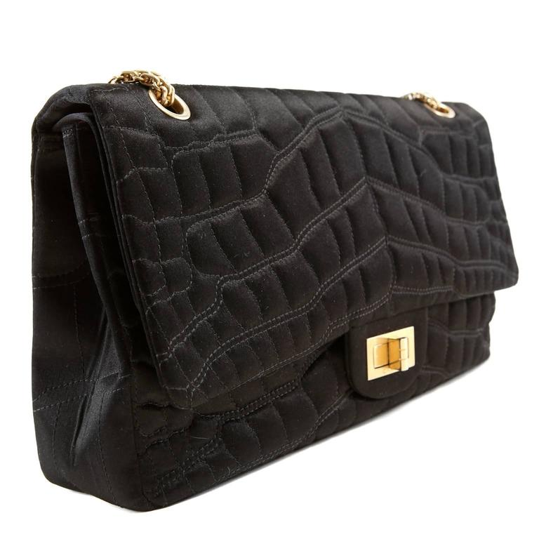 chanel black satin crocodile quilted reissue flap bag at