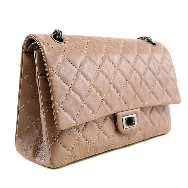 Brown Chanel Camel Distressed Leather Reissue Flap Bag For Sale