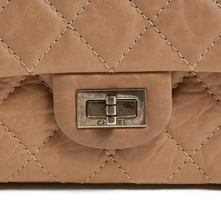 Women's Chanel Camel Distressed Leather Reissue Flap Bag For Sale