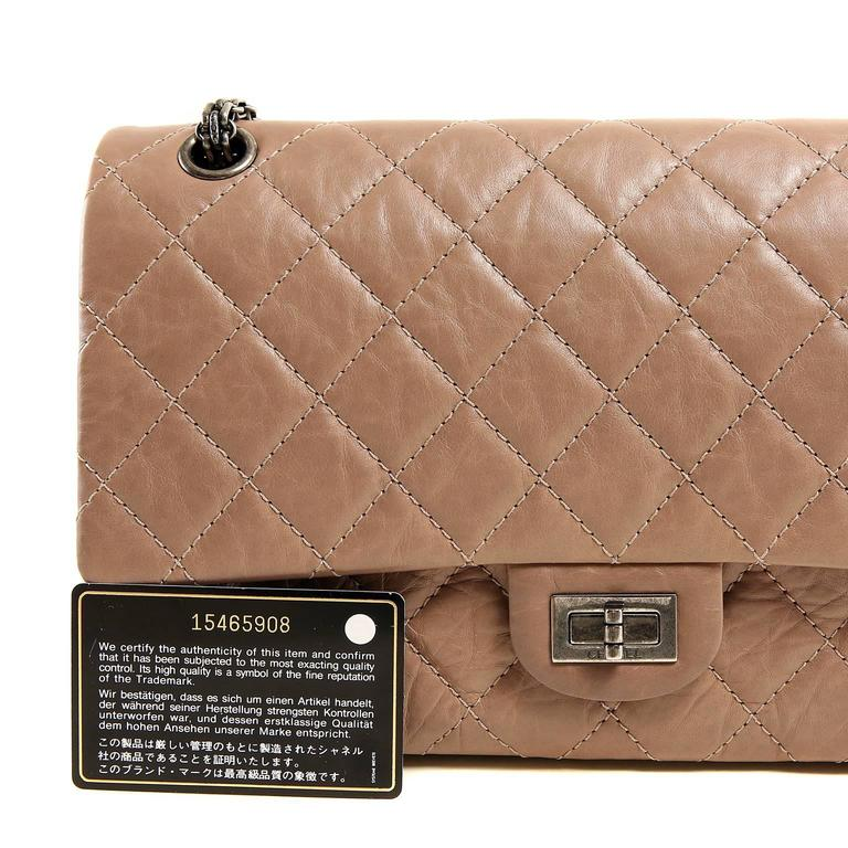 Chanel Camel Distressed Leather Reissue Flap Bag For Sale 5