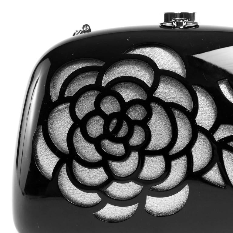 Chanel Black Resin Camellia Clutch 5