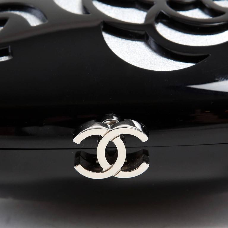 Chanel Black Resin Camellia Clutch 6