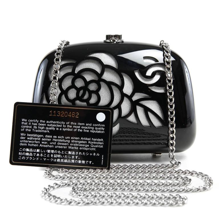 Chanel Black Resin Camellia Clutch 10