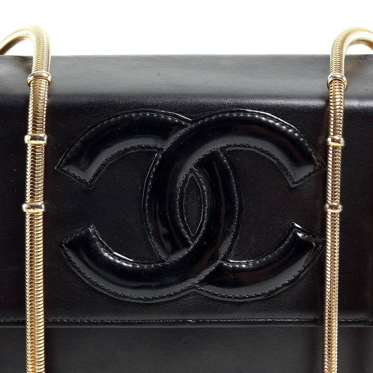 Chanel Vintage Black Leather Snake Chain Bag 5