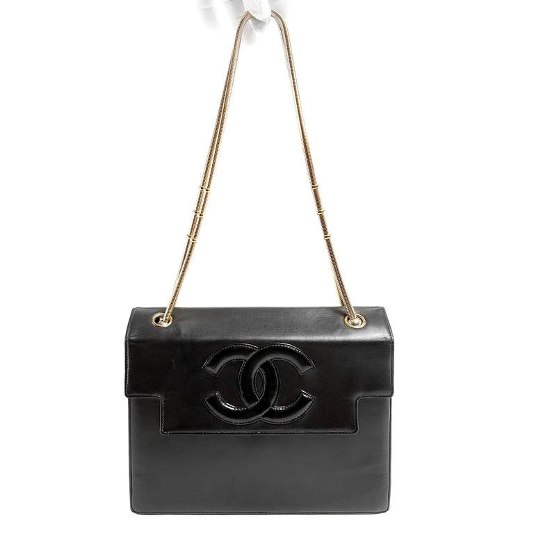 Chanel Vintage Black Leather Snake Chain Bag 8