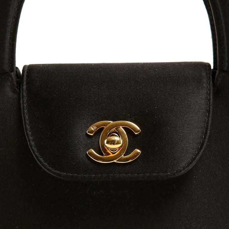Chanel Black Satin Evening Bag 5