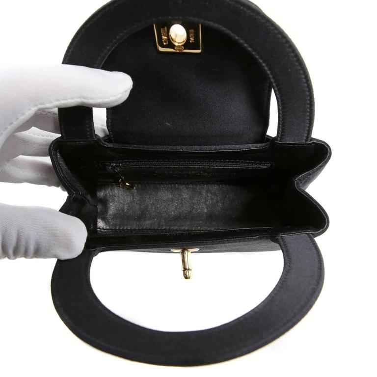 Chanel Black Satin Evening Bag 6