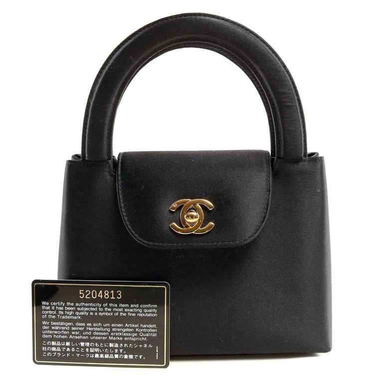 Chanel Black Satin Evening Bag 10
