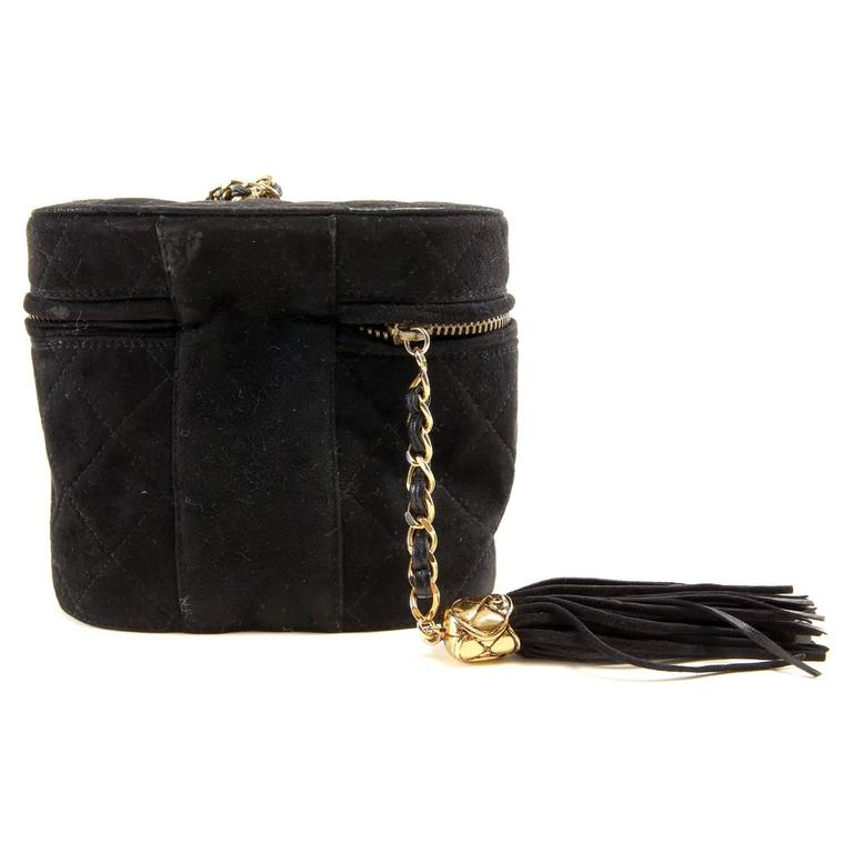Chanel Black Suede Oval Top Zip Bag 3