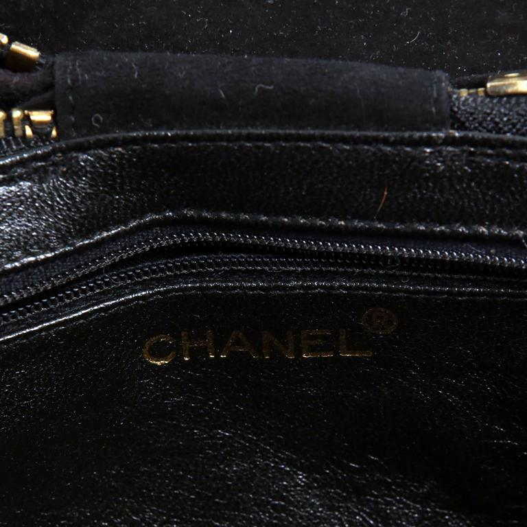 Chanel Black Suede Oval Top Zip Bag 7