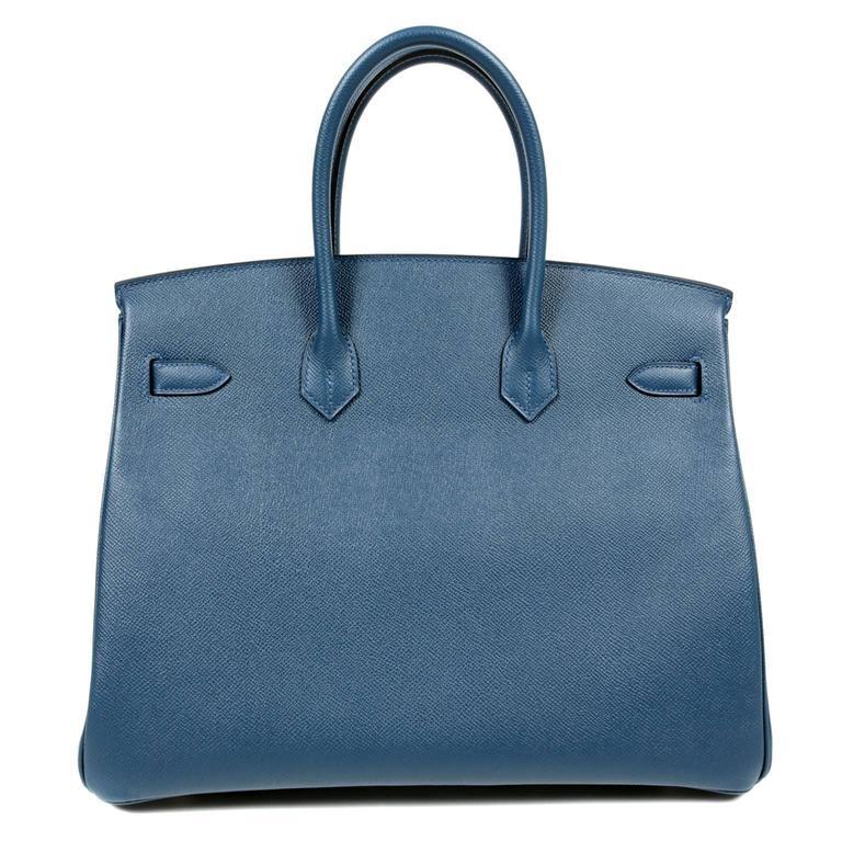 Herm 232 S Blue Colvert Epsom Leather Birkin Bag 35 Cm Phw