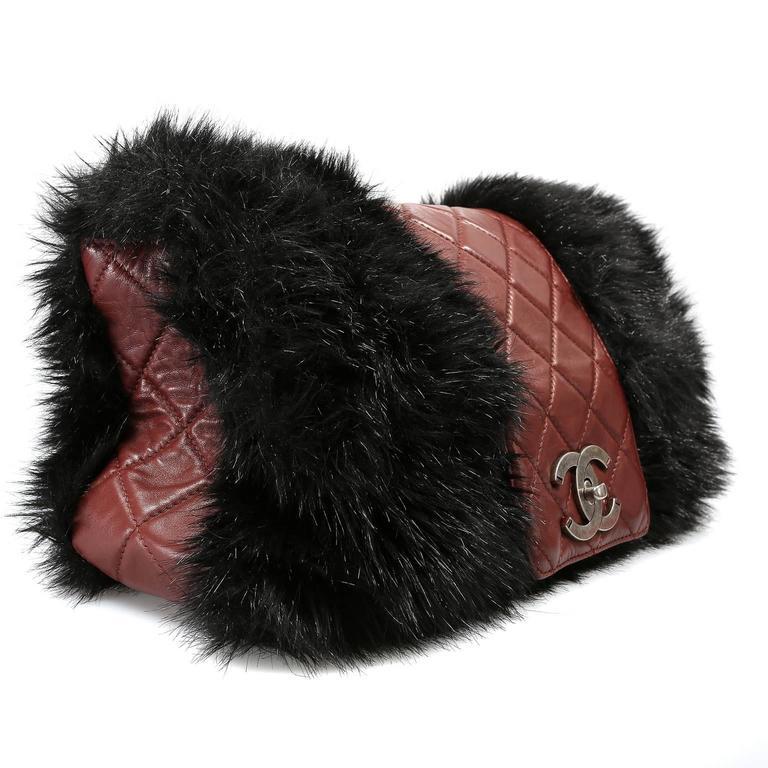 Chanel Bordeaux Fur Arctic Flap Bag 2