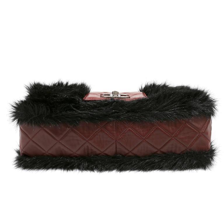 Chanel Bordeaux Fur Arctic Flap Bag 4