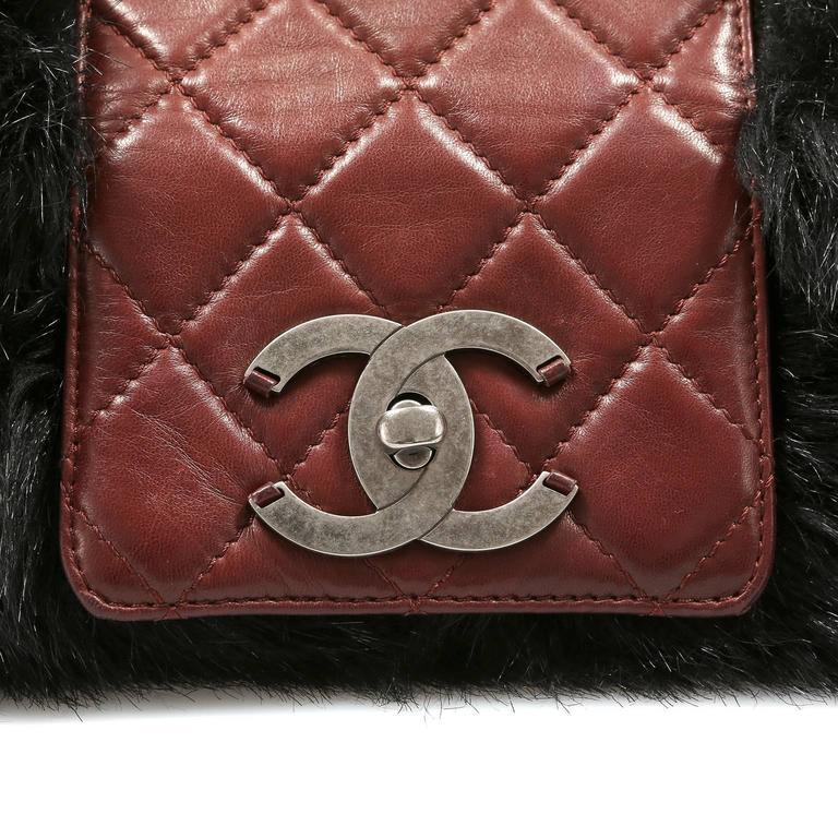 Chanel Bordeaux Fur Arctic Flap Bag 5