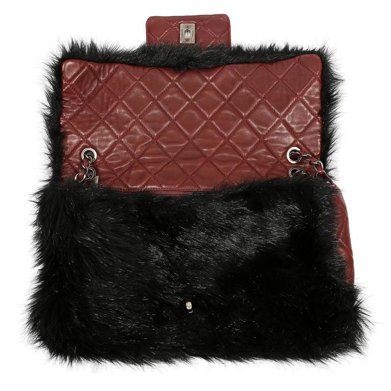 Chanel Bordeaux Fur Arctic Flap Bag 6