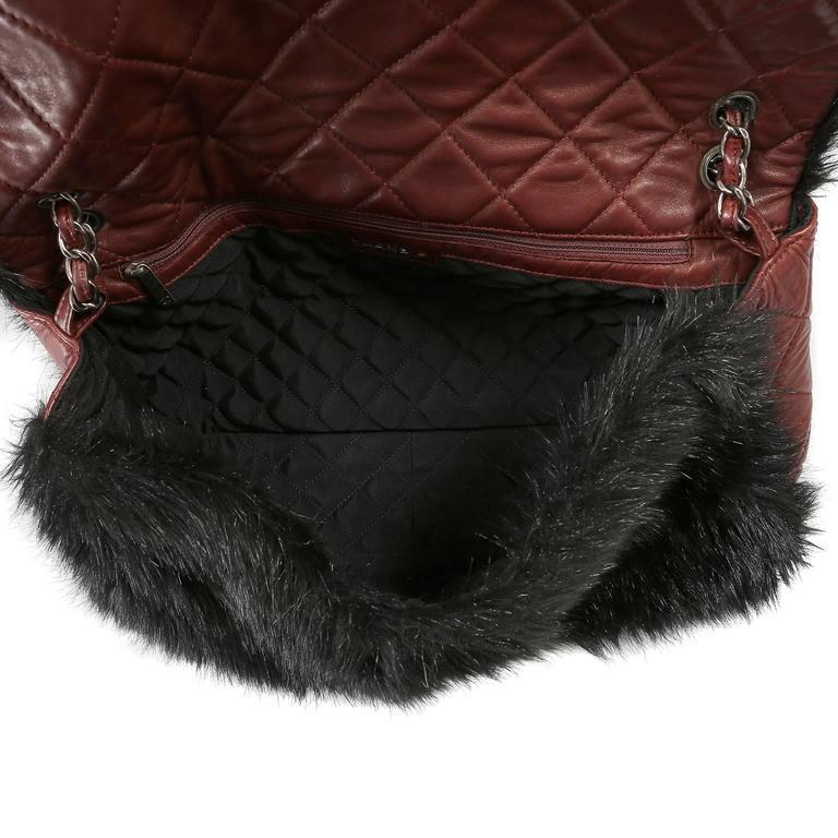 Chanel Bordeaux Fur Arctic Flap Bag 7