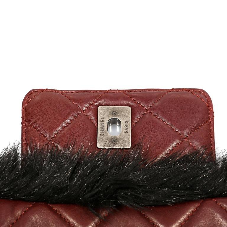 Chanel Bordeaux Fur Arctic Flap Bag 9