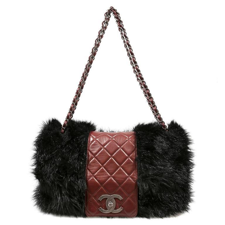 Chanel Bordeaux Fur Arctic Flap Bag 10