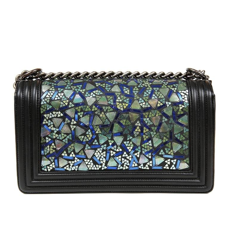 Chanel Black Lambskin and Green Mosaic Leaf Boy Bag 2