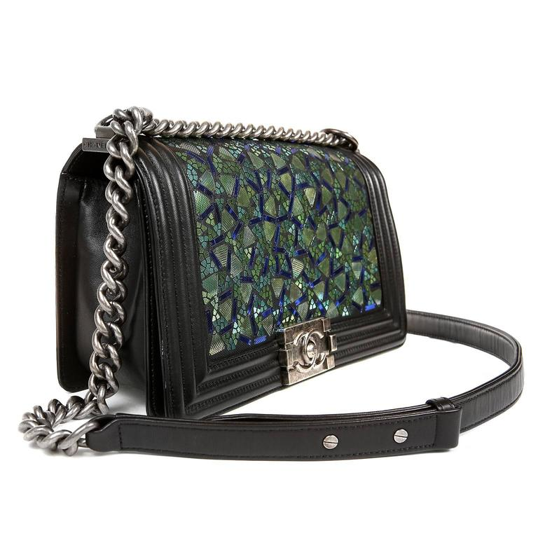 Chanel Black Lambskin and Green Mosaic Leaf Boy Bag 3