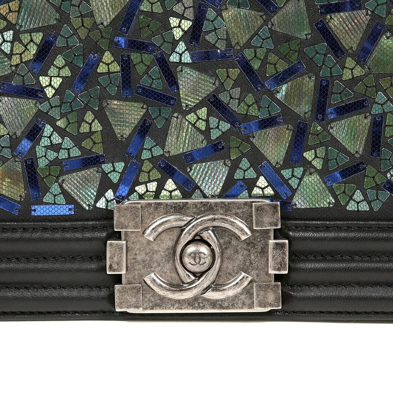 Chanel Black Lambskin and Green Mosaic Leaf Boy Bag 5