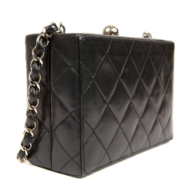 Chanel Black Quilted Leather Mini Box Bag 3