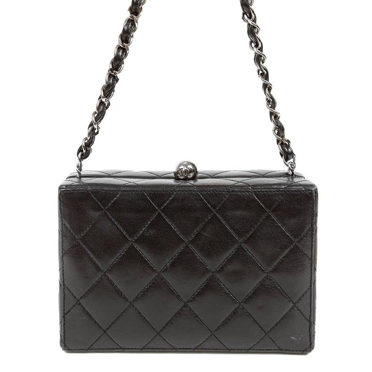 Chanel Black Quilted Leather Mini Box Bag 9