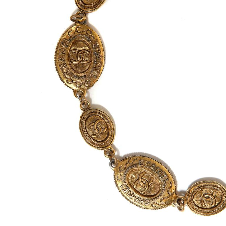 Women's Chanel Oval Coin Necklace For Sale