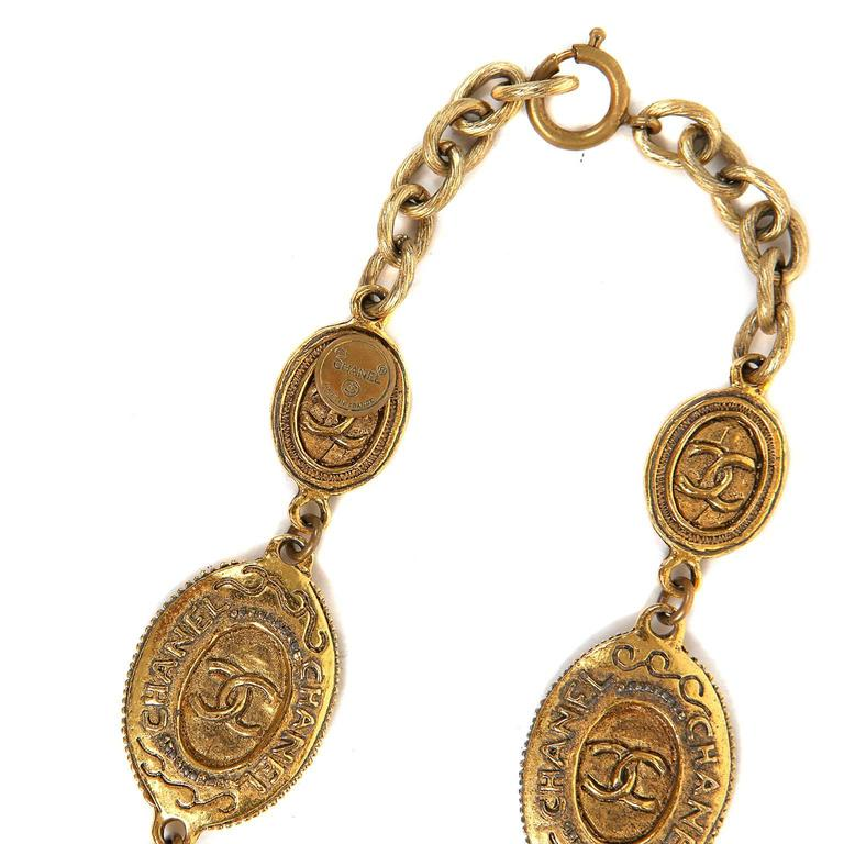 Chanel Oval Coin Necklace For Sale 4
