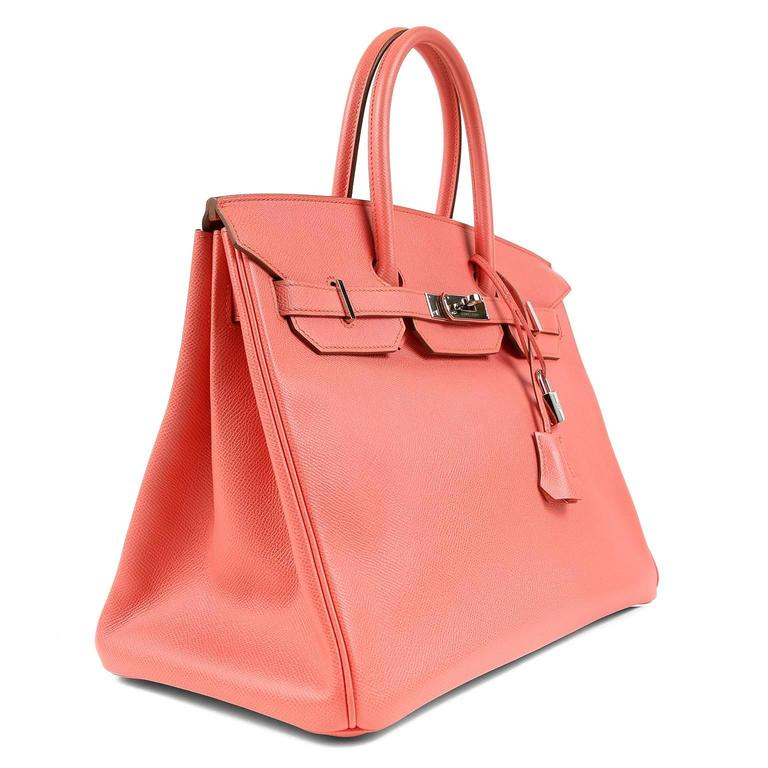 Hermès Pink Flamingo Epsom Birkin- 35 cm with  PHW In Excellent Condition For Sale In Malibu, CA