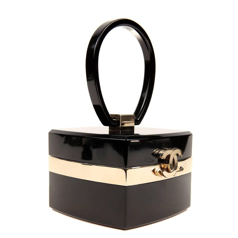Chanel Black Lucite and Gold Devil Wears Prada Bag In Excellent Condition For Sale In Malibu, CA