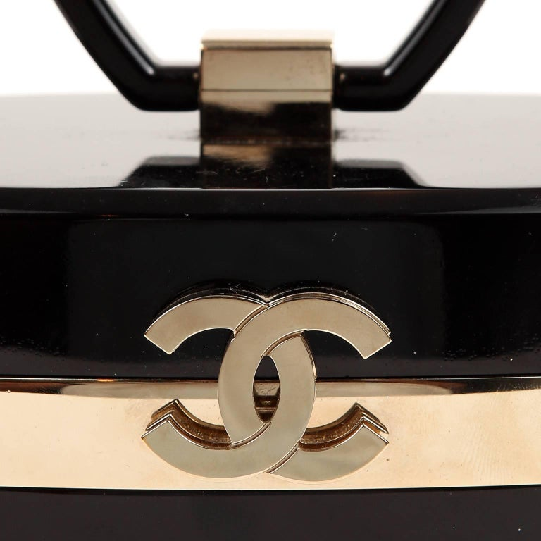 Chanel Black Lucite and Gold Devil Wears Prada Bag For Sale 2
