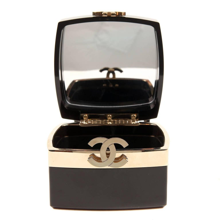 Chanel Black Lucite and Gold Devil Wears Prada Bag For Sale 4