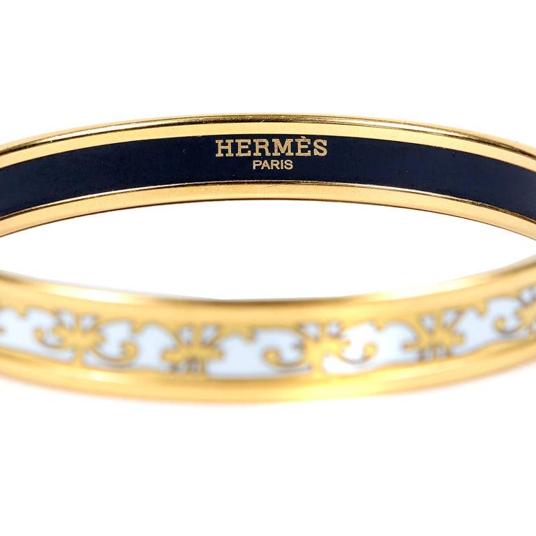 herm 232 s white enamel thin bangle bracelet at 1stdibs