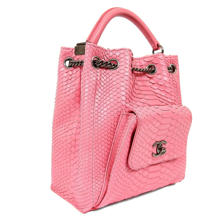 Chanel Pink Python Backpack In New never worn Condition For Sale In Malibu, CA
