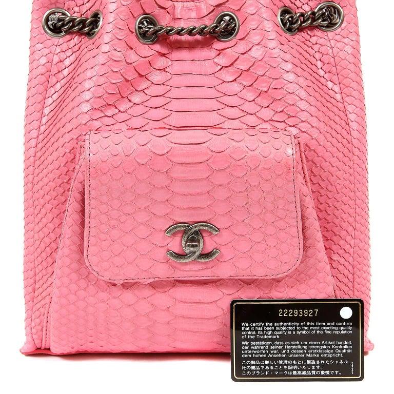 Chanel Pink Python Backpack For Sale 6