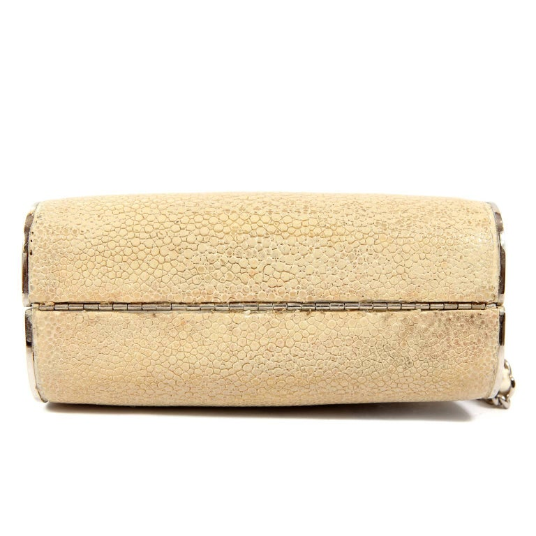 Chanel Beige Stingray Evening Clutch with Crossbody Strap 4