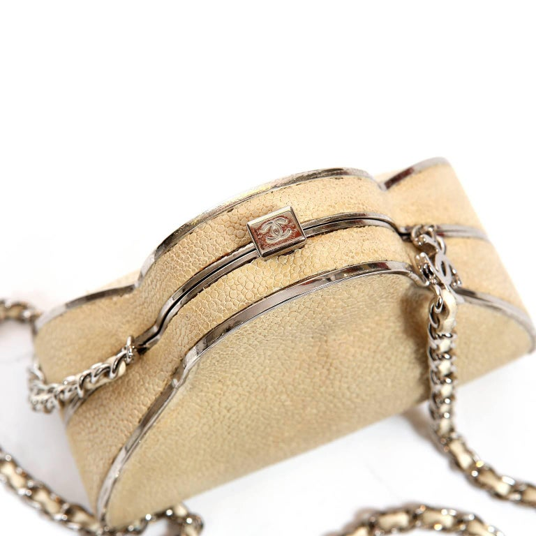 Chanel Beige Stingray Evening Clutch with Crossbody Strap 6