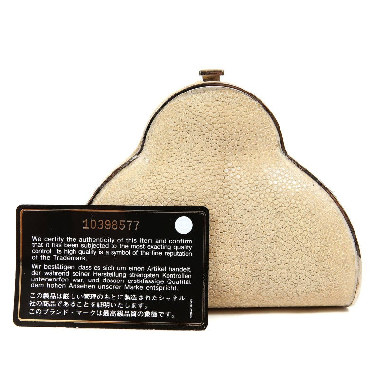 Chanel Beige Stingray Evening Clutch with Crossbody Strap 10