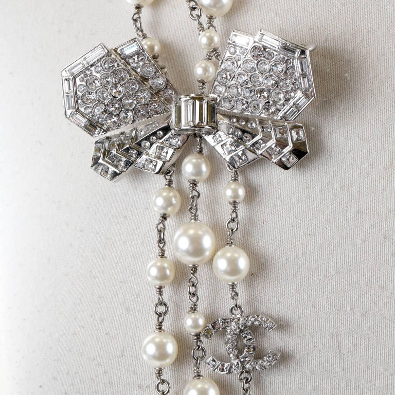 Chanel Crystal Jewel Butterfly Bow Multi Strand Pearl Necklace 4