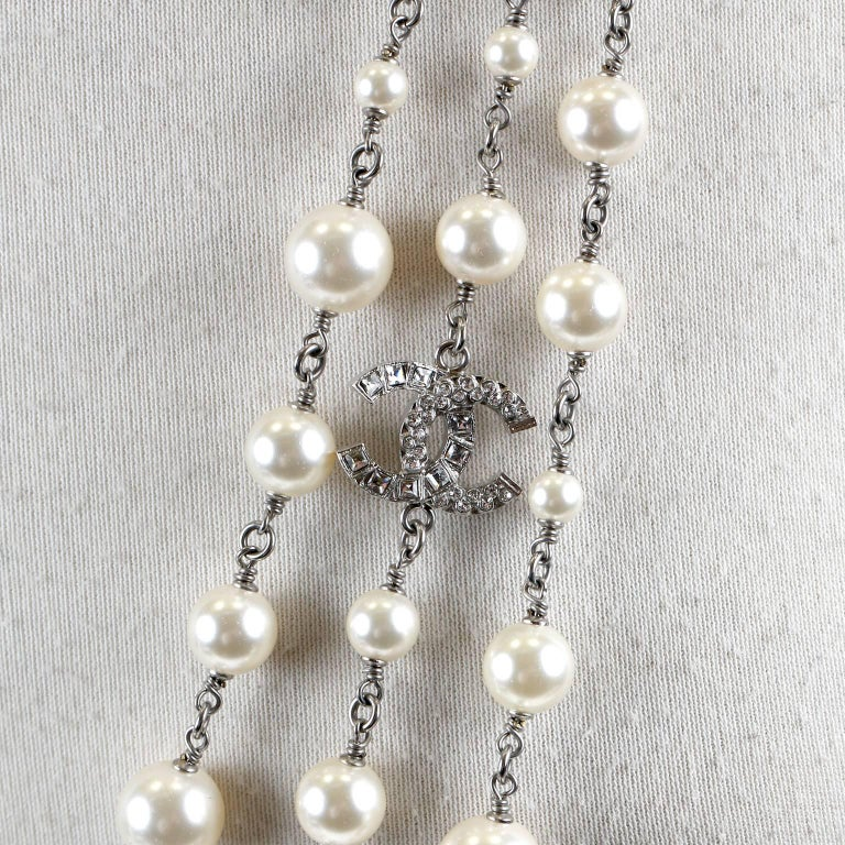 Chanel Crystal Jewel Butterfly Bow Multi Strand Pearl Necklace 5