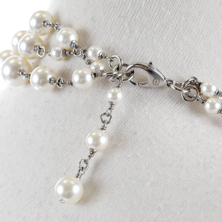Chanel Crystal Jewel Butterfly Bow Multi Strand Pearl Necklace 6