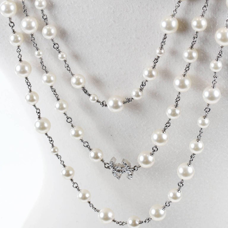 Chanel Crystal Jewel Butterfly Bow Multi Strand Pearl Necklace 3