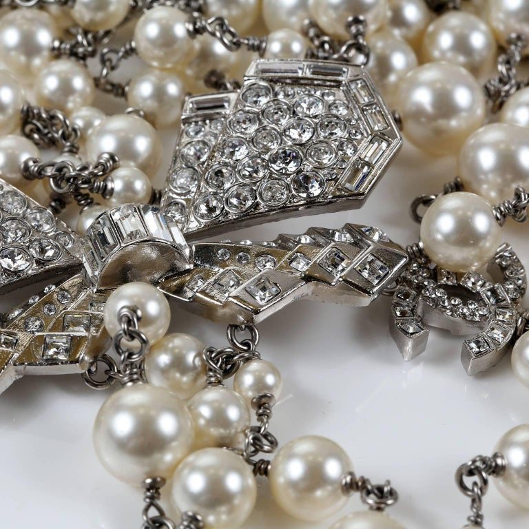 Chanel Crystal Jewel Butterfly Bow Multi Strand Pearl Necklace 7